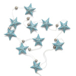 Silver & Pale Blue Star Garland Small