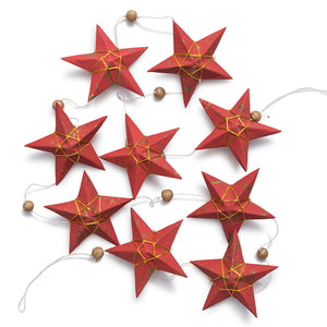 Ellume Life Large Gold Red Star Garland christmas decoration