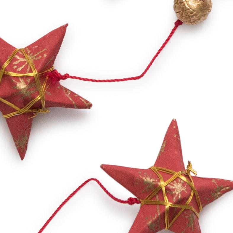 Gold Red Star Garland Small