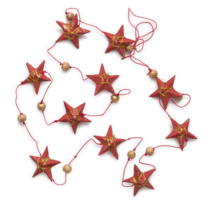 Ellume Life Gold Red Star Garland Small christmas decoration