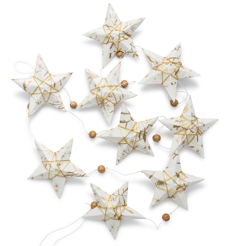 Ellume Life Gold White Star Garland Large christmas decoration