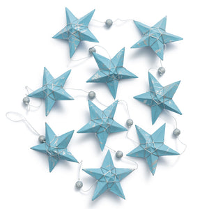 Silver Blue Star Garland Large