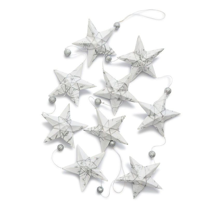 Silver White Star Garland Large