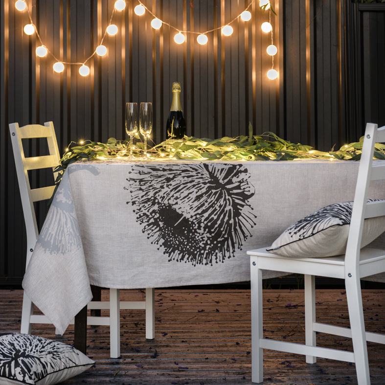 Ellume Life Mallee Charcoal on Natural Linen Tablecloth with matching cushions