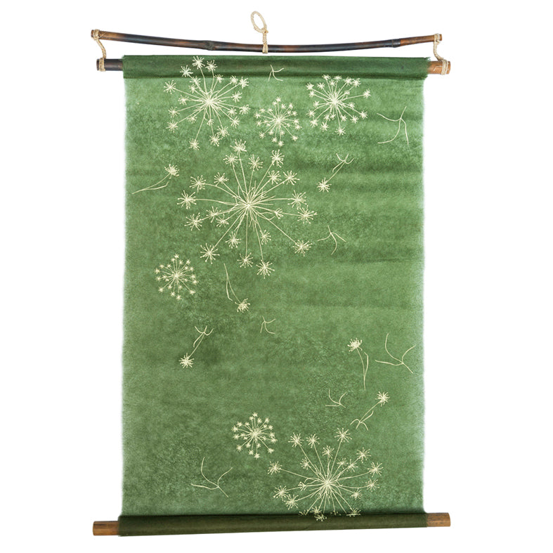 Cream on Green Silk Paper Wall Hanging