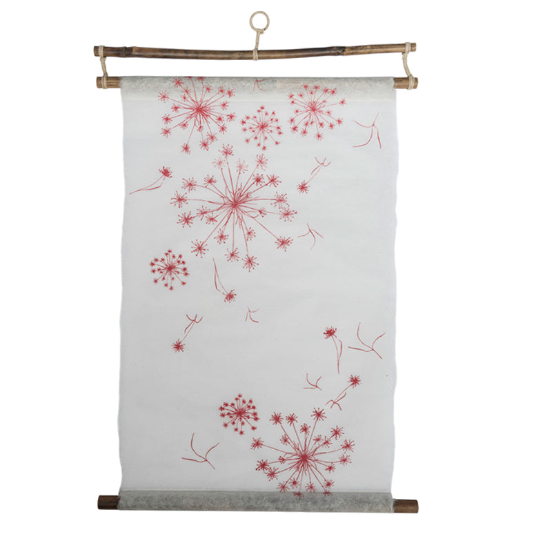 red and white silk paper wall hanging
