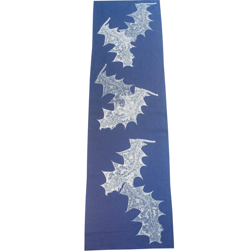 White Grevillea on Indigo Table Runner