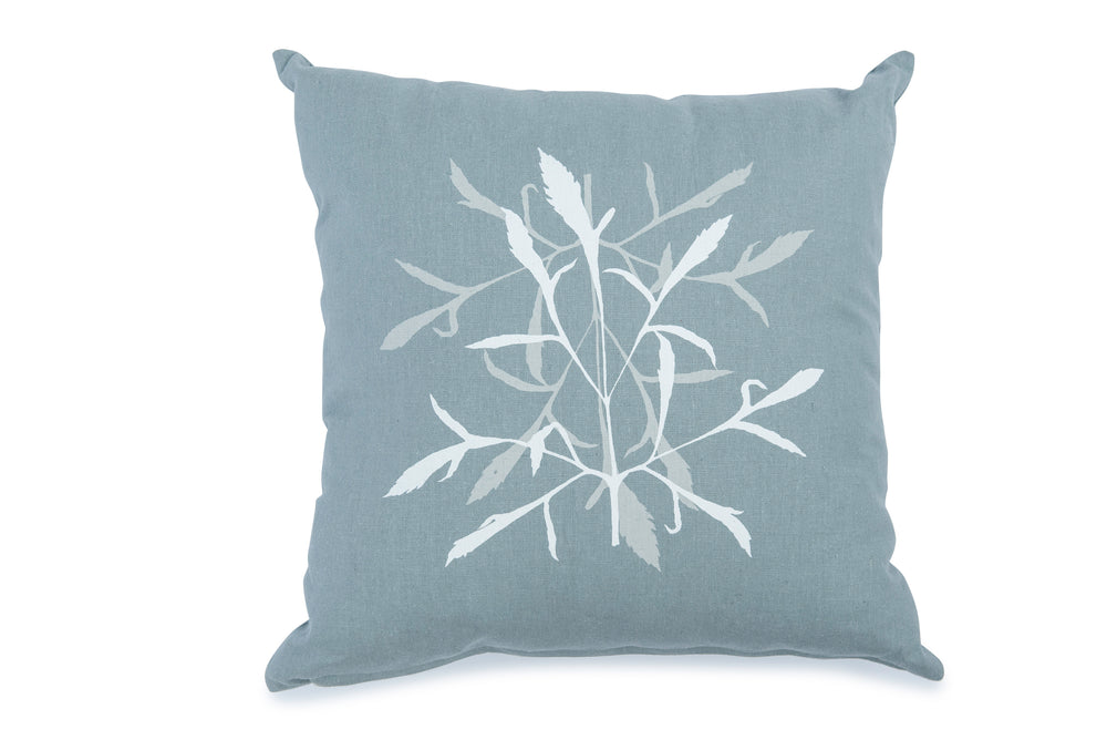 White Leaf on Sage Grey 45cm Cushion