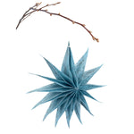 Silk Paper Folding Star, Large Silver on Pale Blue