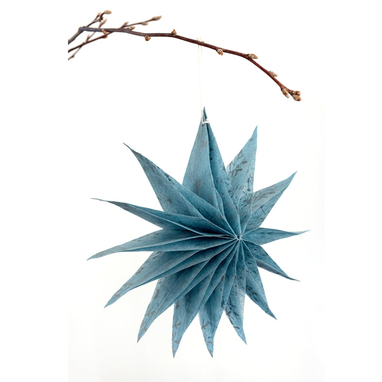 Silk Paper Folding Star, Medium Silver on Pale Blue