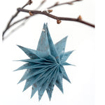 Silk Paper Folding Star, Small Silver on Pale Blue