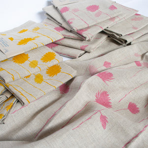 Grey Linen Table Runner 'Everlastings' in Pink