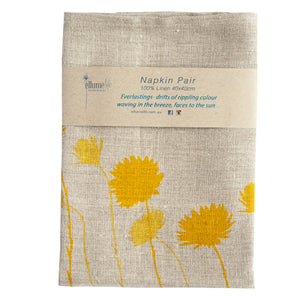 Grey Linen Napkin Pair - 'Everlasting' Yellow