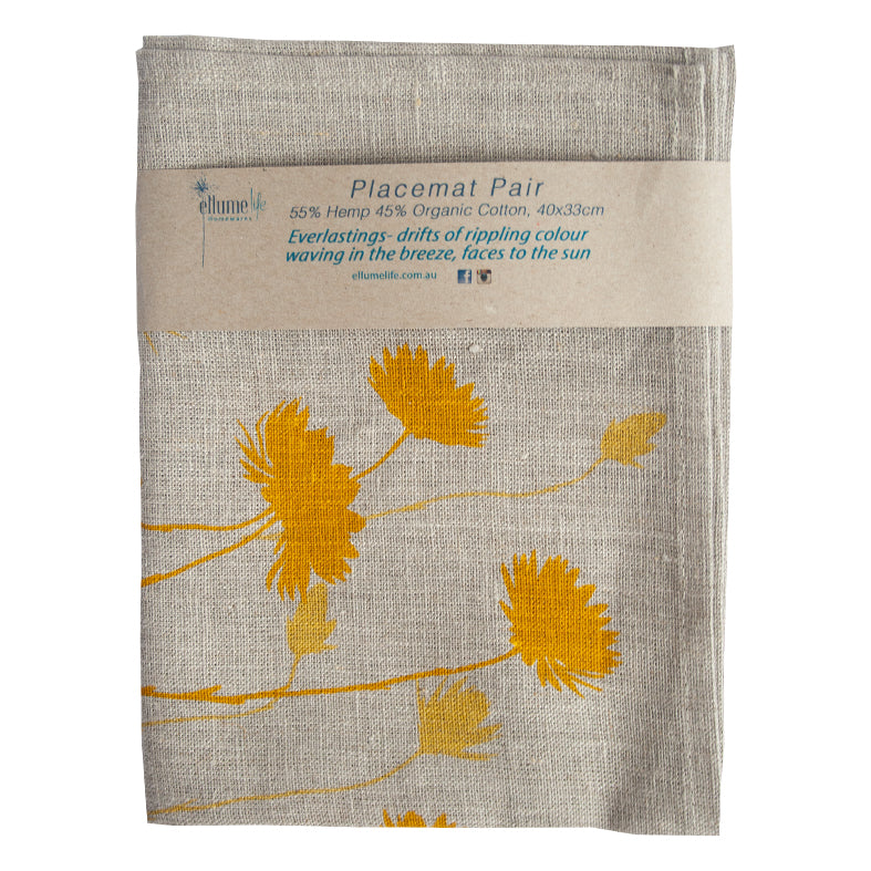 Grey Linen Placemat Pair - Everlasting Yellow