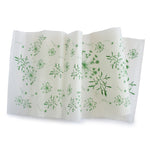 Silk paper table runners - Green print on White silk paper
