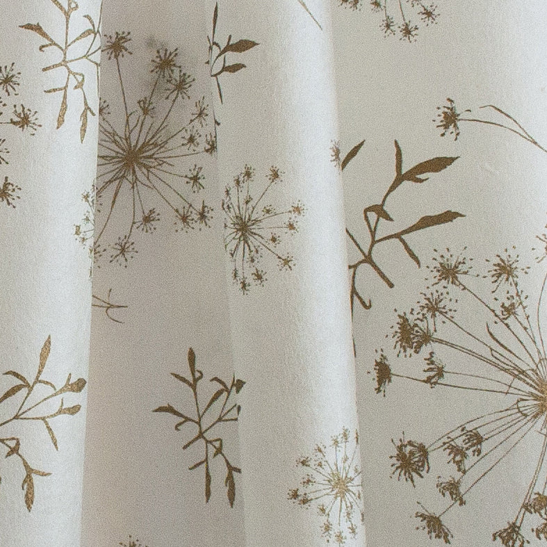 Silk paper table runners - Gold Bloom print on White silk paper