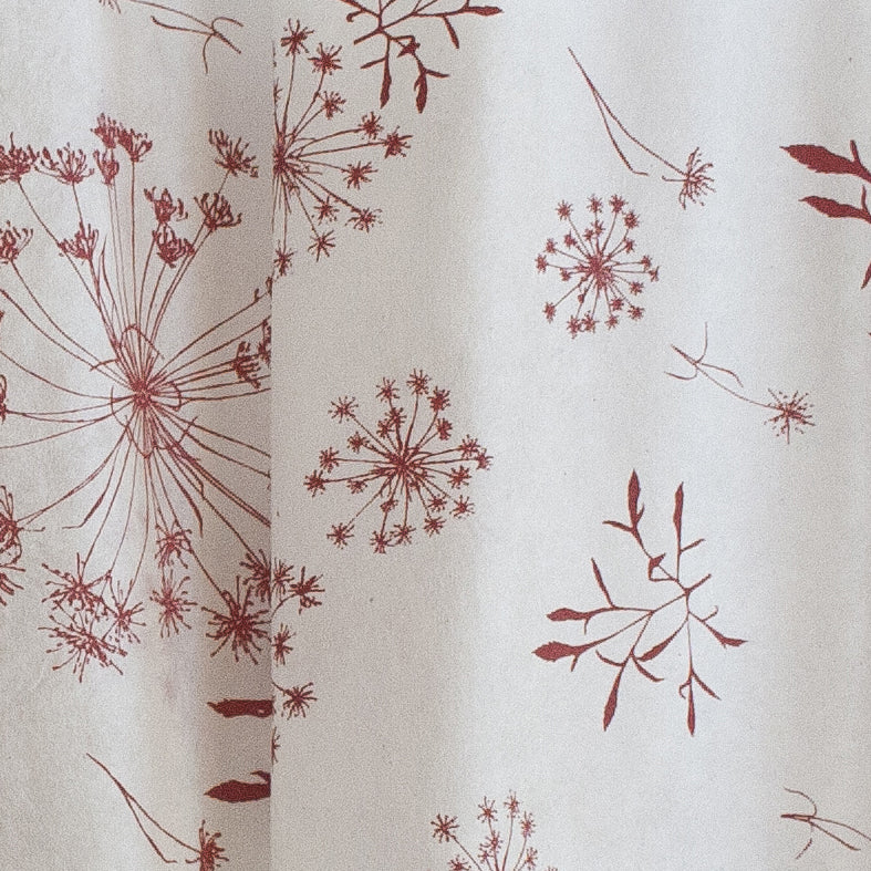 Silk paper table runners - Red Bloom print on White silk paper
