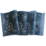 Silk paper table runners - Silver print on Indigo silk paper