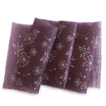 Silk paper table runners - Silver print on plum silk paper