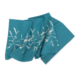 Silver Leaf on Turquoise Table Runner