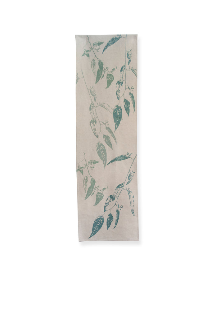 Table Runner 'Jarrah Leaf' in Eucalyptus Blue