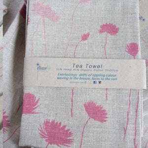Grey Linen Tea Towel - Everlasting Pink
