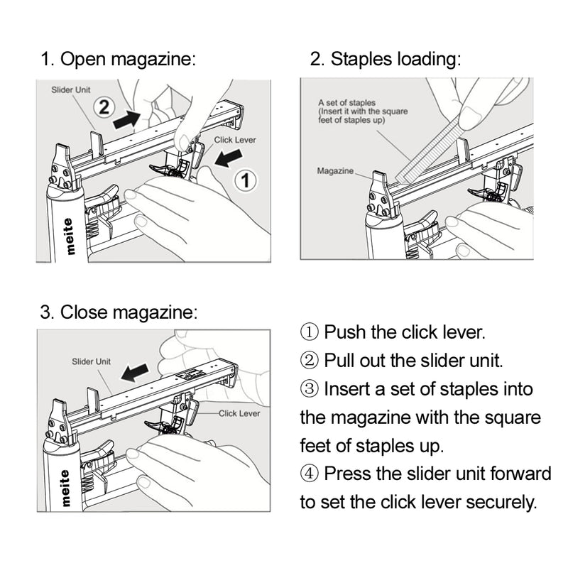 "21 Gauge 80 Series 1/2"" Crown 1/4"" to 5/8"" Length Fine Wire Stapler - with Safety System - Meite USA"