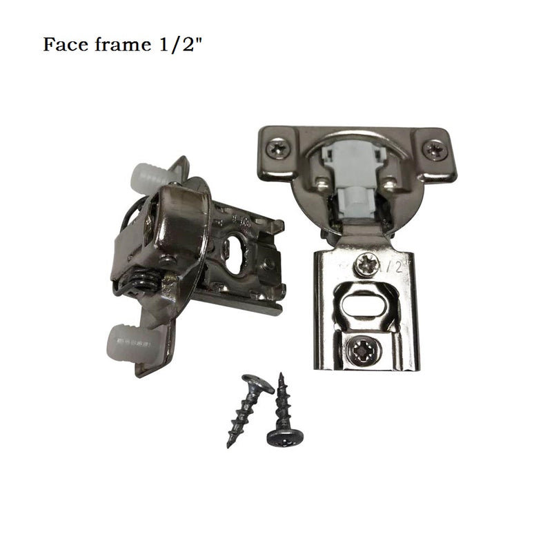 105 Degree 1/2'' Full Overlay Face Frame Hinges with Mounting Plates