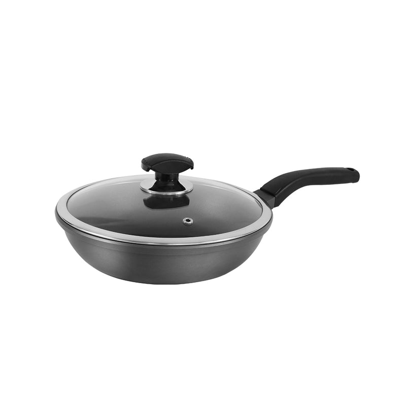 Greendi YMX8324 Nonstick Frying Pan Non Stick Skillet with Glass Lid 10-Inch Round Aluminum Saute Pan For Gas, Electric and Induction Cooktops with Glass Lid