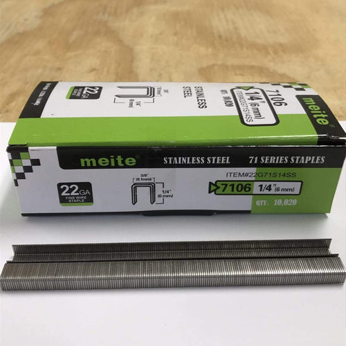 "22 Gauge 71 Series 3/8"" Crown 1/4"" to 3/8"" Length Stainless Steel Staples - Meite USA"