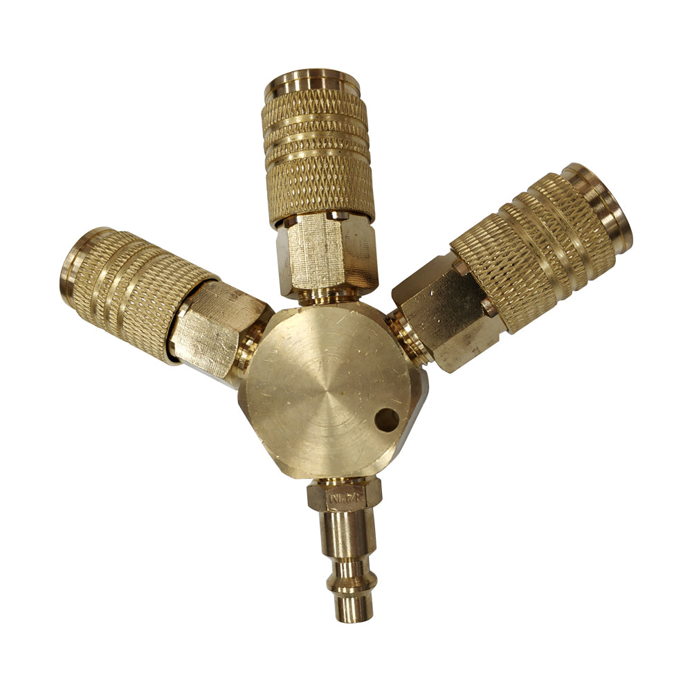 meite 3-Way 1/4'' Quick Coupling Manifold, Brass 1/4'' NPT Coulper