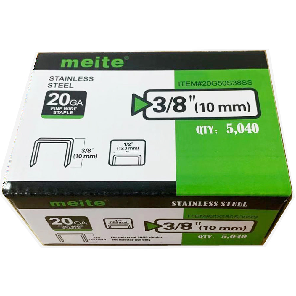 "20 Gauge 50 Series 1/2"" Crown 3/8"" Length 304 Stainless Steel Fine Wire Staples - Meite USA"