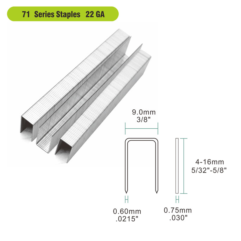 "22 Gauge 71 Series 3/8"" Crown 3/16"" to 5/8"" Length Galvanized Fine Wire Staples - Meite USA"