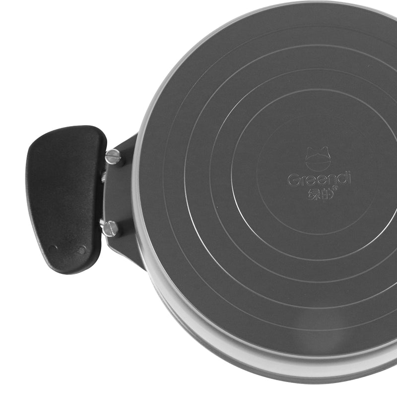 Greendi YMX8322 Hard-Anodized Aluminum Nonstick Cookware Braisers 4-Quart Round Covered Casserole with Lid and handle Black