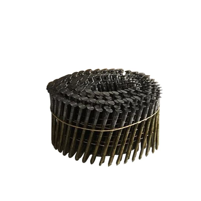 "15 Degree 1-1/4"" to 3'' Leg Full Round-Head Wire Coil Ring Shank Coil Nails"
