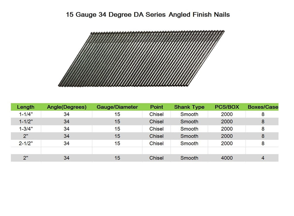 "15 Gauge 34 Degree DA Series 1-1/4"" to 2-1/2"" Length Angled Finish Nails"