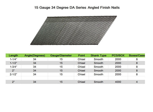 "15 Gauge 34 Degree DA Series 1-1/4"" to 2-1/2"" Length Angled Finish Nails - Meite USA"