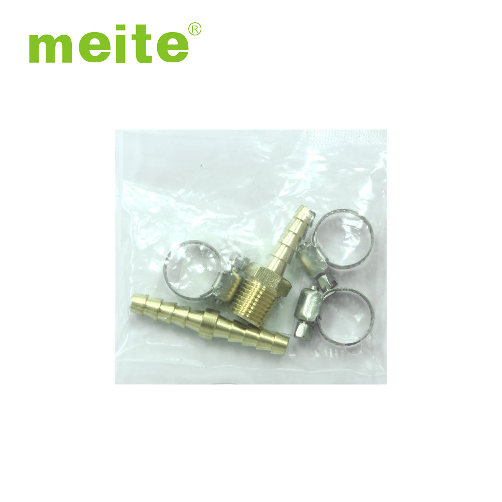 5-Piece Solid Brass Air Hose Repair Kit (1/4'' NPT × 1/4'' Barb) - Meite USA