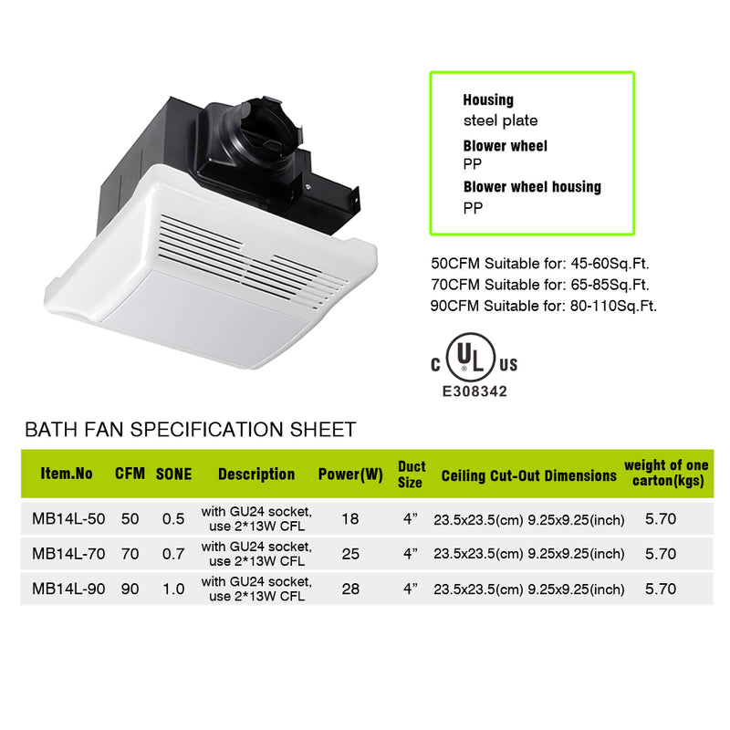 Recessed Exhaust Ventilation Fan Bath Fan with Fluorescent Light - Meite USA