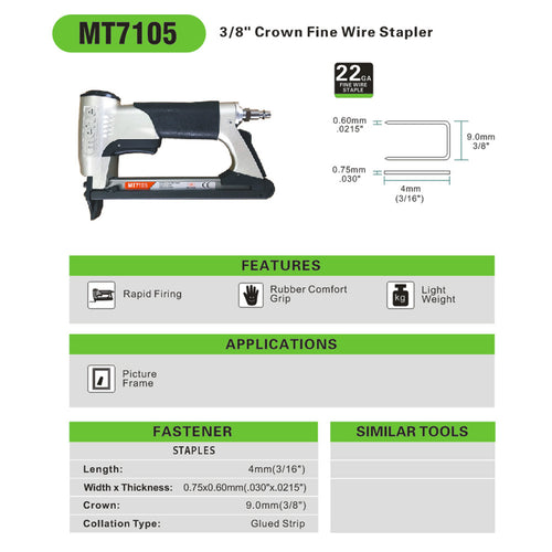 "22 Gauge 71 Series 3/8"" Crown 3/16"" Length Fine Wire Stapler - Meite USA"