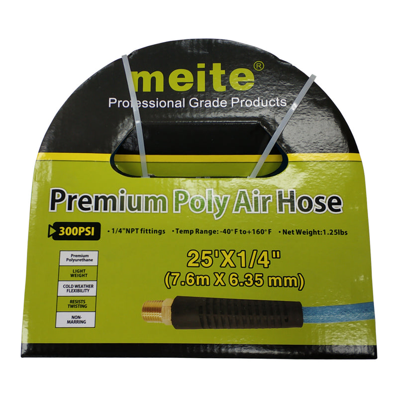 "meite JPUB25-25FT Blue 300 PSI Polyurethane Air Hose 1/4"" x 25' with 1/4"" MNPT Swivel Ends and Bend Restrictor Fittings 1 Pack"