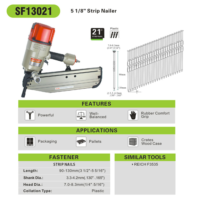 SF13021 21 Degree 3-1/2 Inch to 5-5/16 Inch Pneumatic Strap-Tite Fastening System Strip Framing Nailer