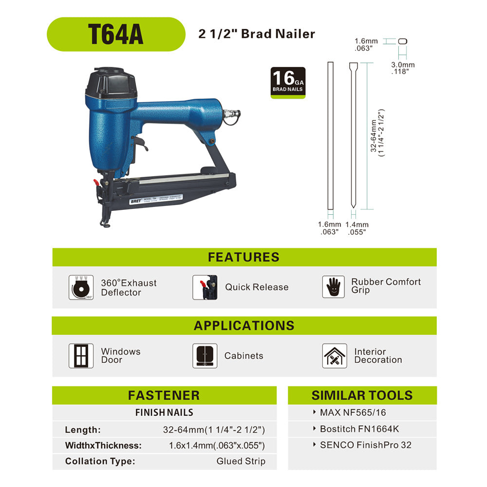 Bret T64A 16 Gauge 1-1/4--Inch To 2-1/2-Inch Leg length Brad Nailer or Finish Nailer