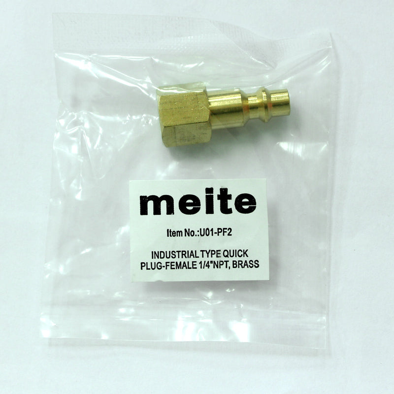 Milton Type 1/4'' NPT Industrial Brass Thread Female Quick Plug - Meite USA