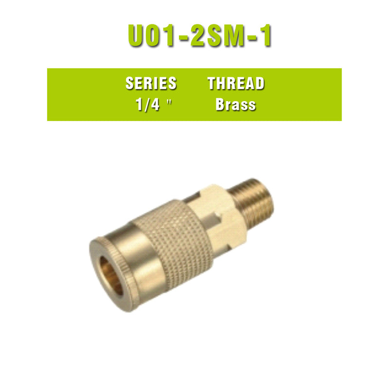 Milton Type 1/4'' NPT Industrial Brass Thread Male Quick Coupler