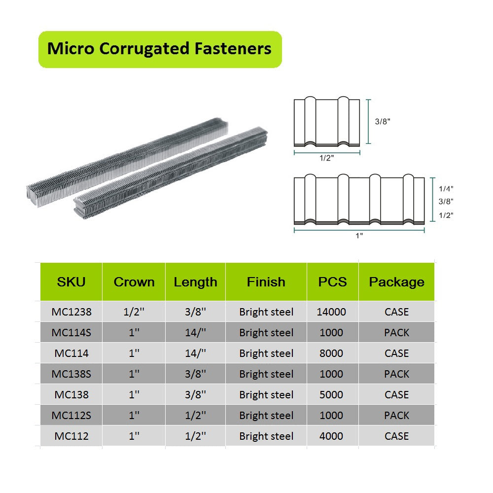 MC114 25 Gauge 1-Inch Crown 1/4-Inch Long Corrugated W Fastener Staples or Corrugated Fasteners