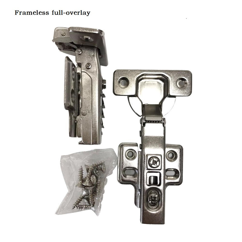 105 Degree 35 mm Full Overlay Self Closing Frameless Cabinet Door Hinges