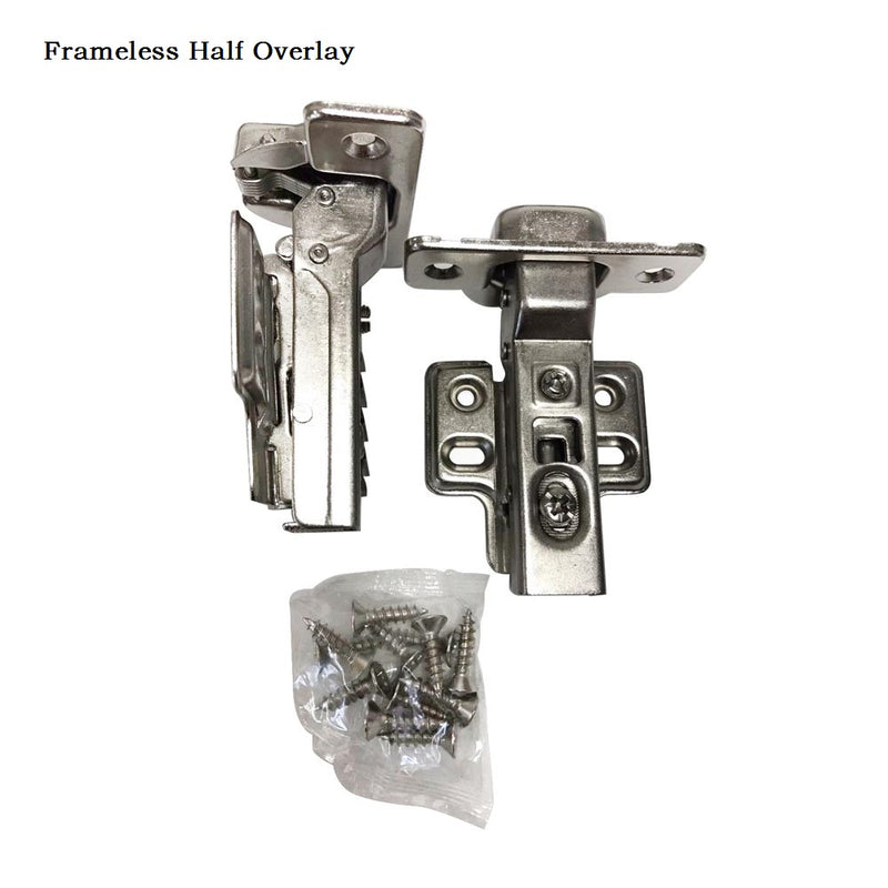ONUS 311 Series 2D Soft Closing Compact Hinges 105 degree 1/2'' Full Overlay Face Frame Hinges with Mounting Plates