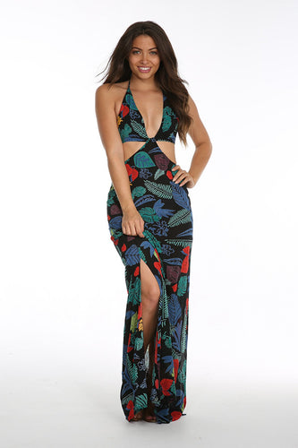 Beautiful Cutout Halter Maxi Dress