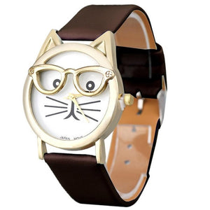 Brand Luxury Wrist Watched for Women  Cute Glasses Cat Women Analog Quartz Dial Sport Wrist Watch